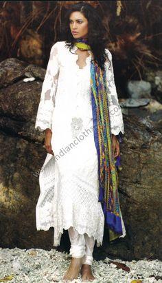white dress suits | Off White Long Cotton Lawn Dress/Suits 14769