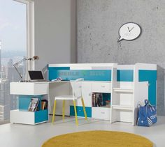 Łóżko Mobi 21 młodzieżowe z biurkiem - Meblar - sklep meblowy Meble BIK