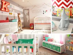 Circus-Inspired Nursery - Boy or Girl - Gender Neutral - in White & Gray with Primary Color Accents - Strip & Chevron Prints & Paint