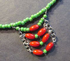 Red Green Necklace Set Pierced Earrings Holiday by IsleOfCraftin, $25.00  Chevrons Rule