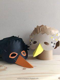 schaeresteipapier: DIY - Vogelmasken für Kinder, Drossel und Amsel