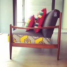 N'Djamena three seater sofa with new arrival Kente cushions. #sofa #couch…