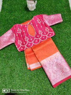 Blouse Back Neck Designs, Silk Saree Blouse Designs, Saree Designs Party Wear, Maggam Work Designs, Orange Saree, Maggam Works, Kurta Neck Design, Stylish Blouse Design, Blouse Models