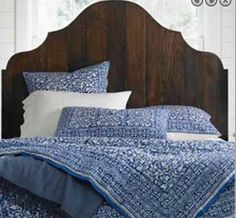 DIY bed frame and headboard from reclaimed scrap wood. Reclaimed Wood Headboard, Reclaimed Wood Furniture, Diy Furniture, Rustic Comforter, Diy Bett, How To Make Bed, Interiores Design, Bed Spreads, Decoration