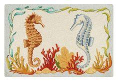 Natural Shells Hooked Rug w/Seaside Seahorses $57.50 Beach decor, nautical decor, seahorses, hooked rugs, rugs, gifts