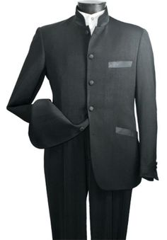 Men's High Fashion 2-Piece Elegant Mandarin Collar Suit Black | MensITALY  Price: US $149