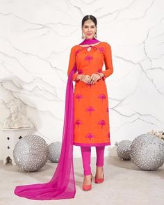 85f2bcb4702d8 This Unstitched Attire with Chanderi Silk Fabric With Embroidery work.  Available with a Cotton Churidar in Pink Color and a Nazmeen Dupatta in Pink  ...