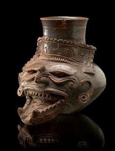 Lempa River vessel depicting the god of fire, AD 900-1200. San Salvador Department, El Salvador Pottery, clay slip Gift of Theodore T. Foley,