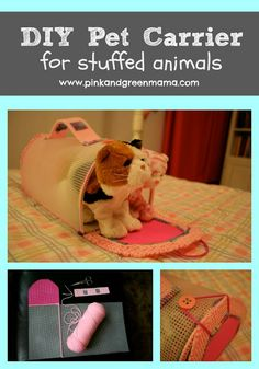 DIY Pet Carrier for Stuffed Animals: Toy Kitty Cat Carrier from Pink and Green Mama Blog