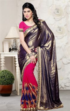 Picture of Majestic Pink and Silver Color Saree