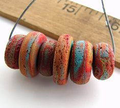 Handmade Polymer Clay Disc Beads  Rustica by BeadsByEarthTones