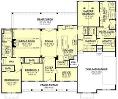 Plan Expanded 3 Bed Modern Farmhouse With Optional Bonus Room Ranch House Plans, Best House Plans, Country House Plans, Dream House Plans, House Floor Plans, Modern Floor Plans, The Plan, How To Plan, Plan Plan