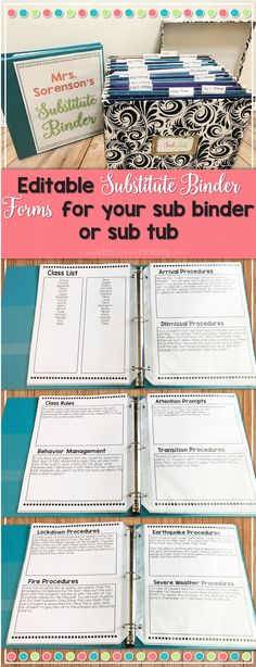 These editable forms make putting your sub binder together SO EASY! All you have to do is fill in your information, print, and DONE. Perfect for your sub binder or your sub tub! It even comes with an adorable cover for your sub binder that you can type your name right onto.