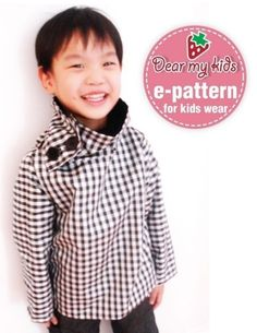 Unisex cowlneck pullover jacket (12 months upto age 6)PDF patterns - Reversible, 6 ways to wear, cowl neck, pullover jacket, side buttons
