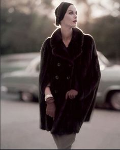 Anne St. Marie in mink cape by Maximillian, 1955