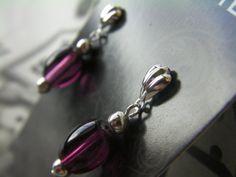 Purple Beaded Dangle Earrings Wine Colored by ArtisticSparkle, $15.00