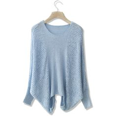 Chicwish Pastel Blue Slouchy Sweater featuring polyvore, fashion, clothing, tops, sweaters, blue, slouchy shirt, crewneck shirt, ribbed sweater, slouch sweater and ribbed shirt