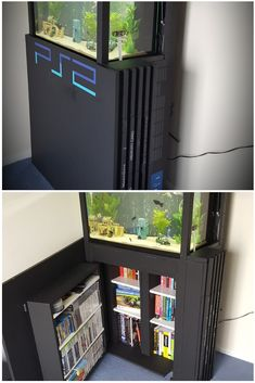 This Playstation 2 aquarium and bookcase is the dream addition to any gamer's home. Quirky decor ideas and home ideas for gamers. Playstation 2 aquarium and bookcase Gina Ghost ginaghost lustige Me Video Game Decor, Video Game Rooms, Man Cave Video Game Room, Gamer Bedroom, Game Room Kids, Nerd Room, Quirky Decor, Gaming Room Setup, Game Room Design