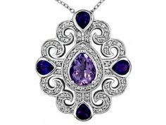 Brazilian Amethyst 1.20ct With 2.68ctw African Amethyst And White Topaz Sterling Silver Pend/Chain