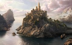 World with Islands and some have castles on them.  Just large enough for the castle and village each one is ruled by a separate king and each one is a separate kingdom