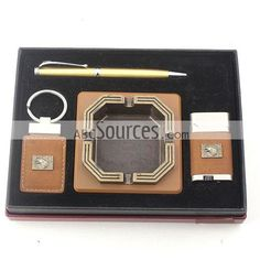 China Wholesale Brown Smoking Set Of Steel Ashtray, Lighter, Key Chain, And Pen, Perfect Business Gift Pack