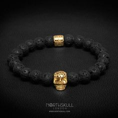 New Release | Introducing our NEW natural Lavastone & Perforated Gold Skull Bracelet | Incorporating the unique textures of natural lavastones with our uniquely designed perforated skull, this signature piece from our collection will adorn the wrist beautifully. | Available now at Northskull.com [Worldwide Shipping] #Luxury #Jewelry #MensFashion