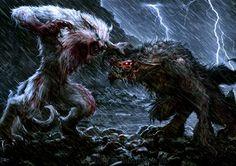 Werewolves at full transformation