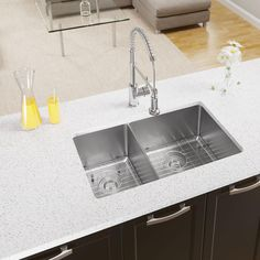 MRDirect Stainless Steel x Double Basin Undermount Kitchen Sink With Basket Strainer Stainless Steel Thickness: 1 Sink Design, Kitchen Design, Kitchen Ideas, Stainless Steel Apron Sink, Double Bowl Kitchen Sink, Kitchen Sinks, Kitchen Cupboard, Refinish Kitchen Cabinets, Basin