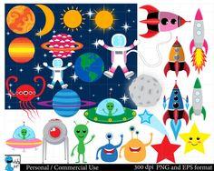 Space Set Clipart  Digital Clip Art Graphics Personal por HaHaHaArt