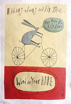 Beautifully simple illustration of a Hare on a bike by AngelaSmyth, £50.00