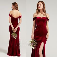Formal Dress Wine Velvet Bridesmaid Dress Sweehtheart Neckline Party Dress Long Slit Fitted Evening Dress Off the Shoulder Prom Dress(HV962) Open Back Prom Dresses, Prom Party Dresses, Evening Dresses, Formal Dresses, Wedding Dresses, Dress Long, Velvet Bridesmaid Dresses, Wine Dress, Sequin Fabric