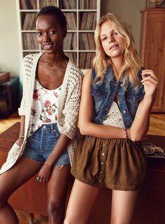 '70s chic | Twik Metal Button Suede-Style Miniskirt & Vintage Denim Vest | La Maison Simons
