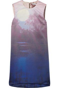 Victoria,Victoria+Beckham+Printed+satin+shift+dress