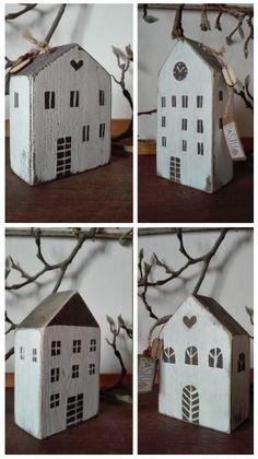 Domečky mne moc baví.... | Mimibazar.cz Small Wood Projects, Scrap Wood Projects, Diy Projects To Try, Tiny Little Houses, Little White House, Diy Christmas Village, Christmas Crafts, Wooden Crafts, Diy And Crafts