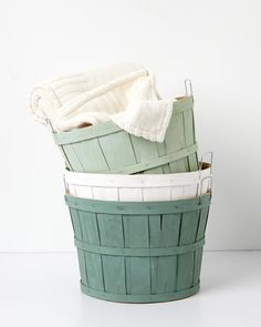 Turn your old harvest baskets into vintage-decor storage containers. Once dry, you can use them as clothing hampers, bath towel storage, or as a catchall for various odds and ends that otherwise wouldn't have a home.