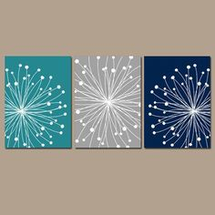 DANDELION Wall Art, CANVAS or Prints Teal Gray Navy Bedroom, Bathroom Artwork, Bedroom Pictures Flower Dandelion Set of 3 Home Decor #ContemporaryDIYInteriors #DIYHomeDecorCanvas