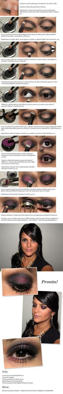 Fabulous tutorial on a dark purple shimmery smokey eye.