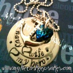 Navy Wife-Navy-Military Jewelry-2 Disc Stainless Steel Navy Wife,<3 My Hero Necklace with Love Anchor & Sea Blue Swarovski Heart on Sterling Silver Ball Chain...Retail $16.00 plus shipping www.myheroskeepsakes.com www.facebook.com/myheroskeepsakes