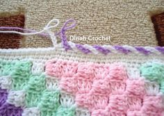 edging ch 6 skip 1 stitch sl st in next alternating colors Dinah Crochet: baby blanket.edging ch 6 skip 1 stitch sl st in next alternating colors Stitch Crochet, C2c Crochet, Crochet Motifs, Love Crochet, Crochet Crafts, Easy Crochet, Crochet Projects, Crochet Stitches, Crochet Rope