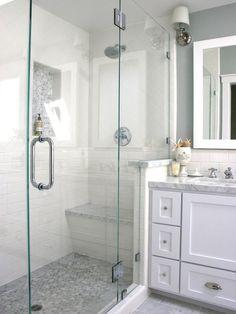 shower doors/white bathroom