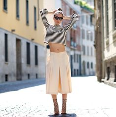 striped top with culottes