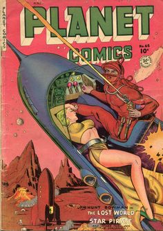 "Dedicated to all things ""geek retro:"" the science fiction/fantasy/horror fandom of the past including pin up art, novel covers, pulp magazines, and comics. Sci Fi Comics, Old Comics, Horror Comics, Comics Vintage, Vintage Comic Books, Comic Books Art, Comic Art, Vintage Art, Art Pulp Fiction"