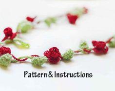 Crochet Necklace Pattern, Crochet Flower Necklace Pattern, Crochet Pattern, Instructions, Accessories, Necklace, Boho
