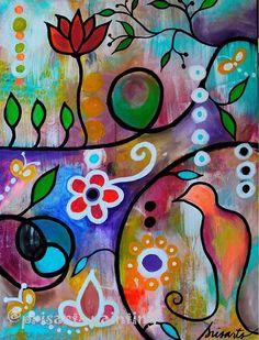 Brave Intuitive Bird Flowers Floral Blooms Original Painting Folk Art PRISARTS…