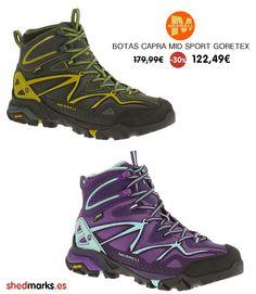 Botas de montaña Merrell Capra Mid Sport Gore-Tex para hombre, muy ligeras sin olvidar el confort. Con membrana Gore-Tex http://www.shedmarks.es/botas-montana-y-trekking-hombre/3457-botas-capara-mid-sport-gore-tex.html