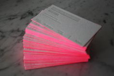 cute neon pink business card