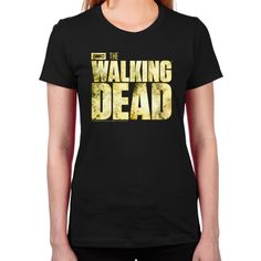 The Walking Dead Logo T-Shirt ($15) ❤ liked on Polyvore featuring tops, t-shirts, black, black shirt, t shirts, black short sleeve shirt, long shirts and long sleeve t shirt