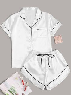 Check out this Contrast Binding Tie Front Satin PJ Set on Shein and explore more to meet your fashion needs! Satin Pj Set, Satin Pyjama Set, Satin Pajamas, Cute Pajama Sets, Cute Pajamas, Pj Sets, Pajama Outfits, Crop Top Outfits, Girls Fashion Clothes