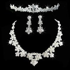 Alloy With Elegant Rhinestone Wedding Jewelry Set Including Tiara,Necklace,Earrings – USD $ 19.99