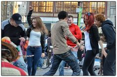 Young group dancing